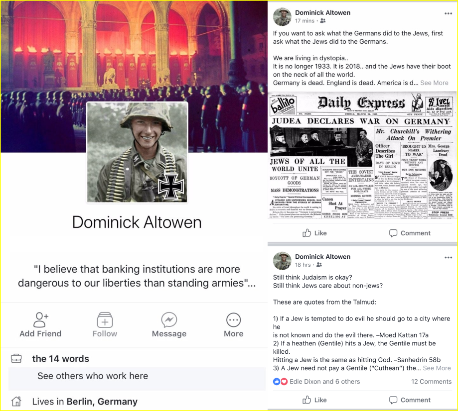 Dominick Owen is an open Nazi