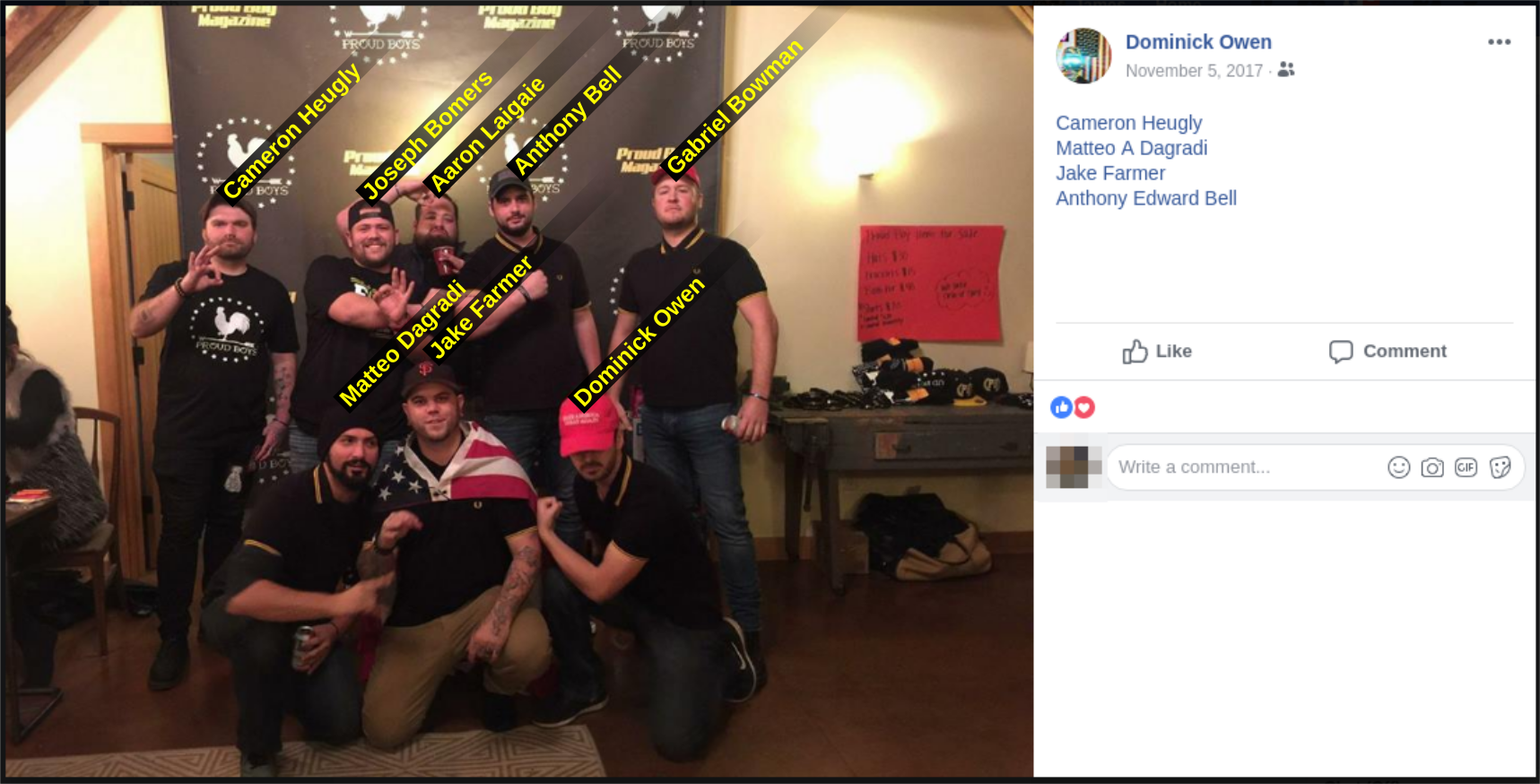 Dominick Owen poses with fellow members of the Proud Boys hate group