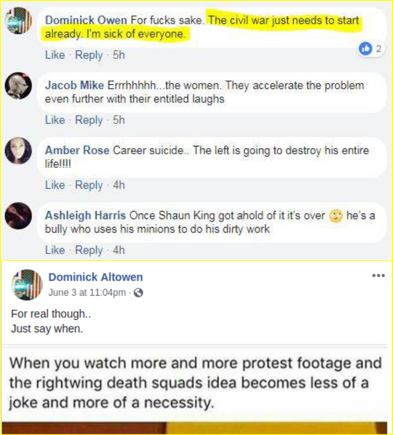 Dominick Owen expresses his desire for right wing murder
