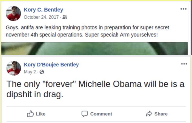 Kory Bentley posts racist materials on facebook
