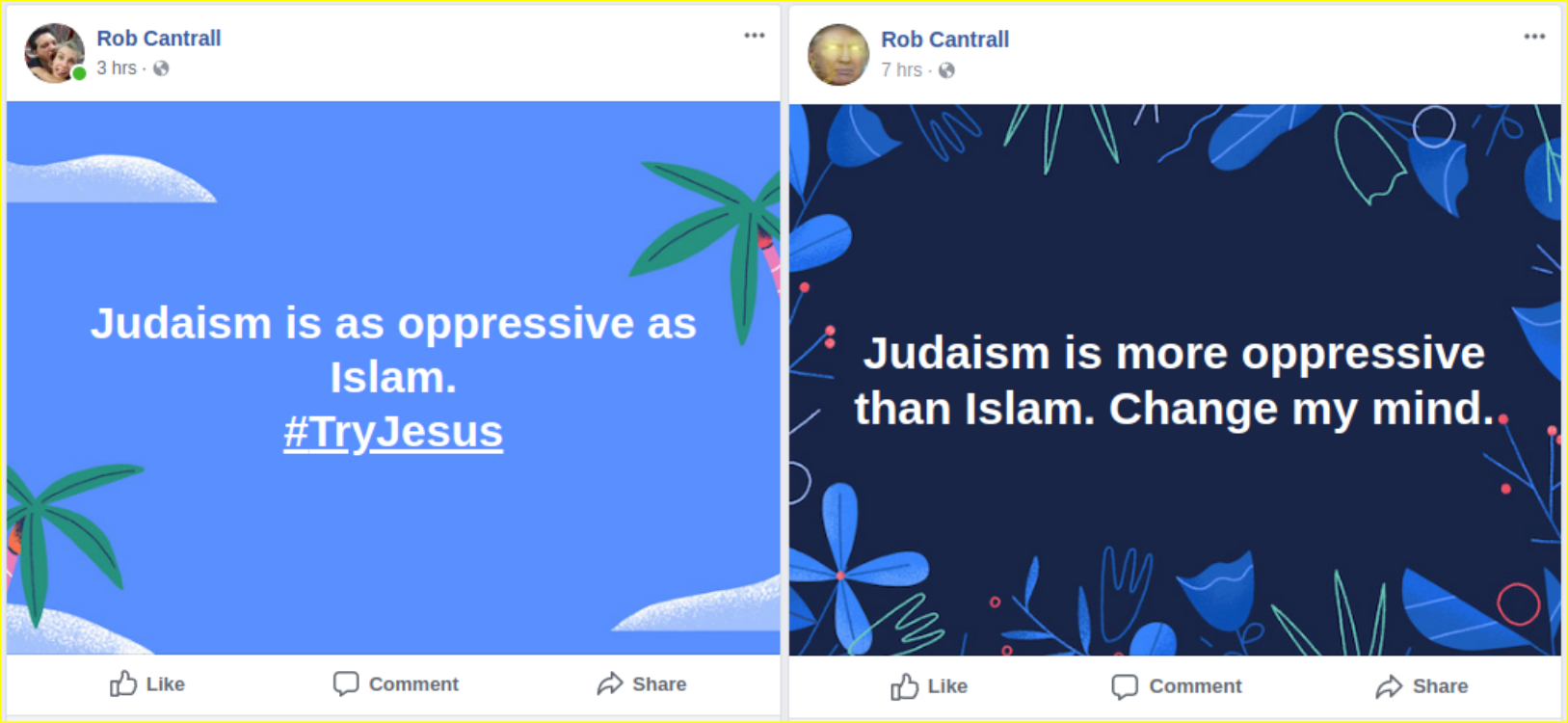 Rob Cantrall displays Islamophobia and antisemitism