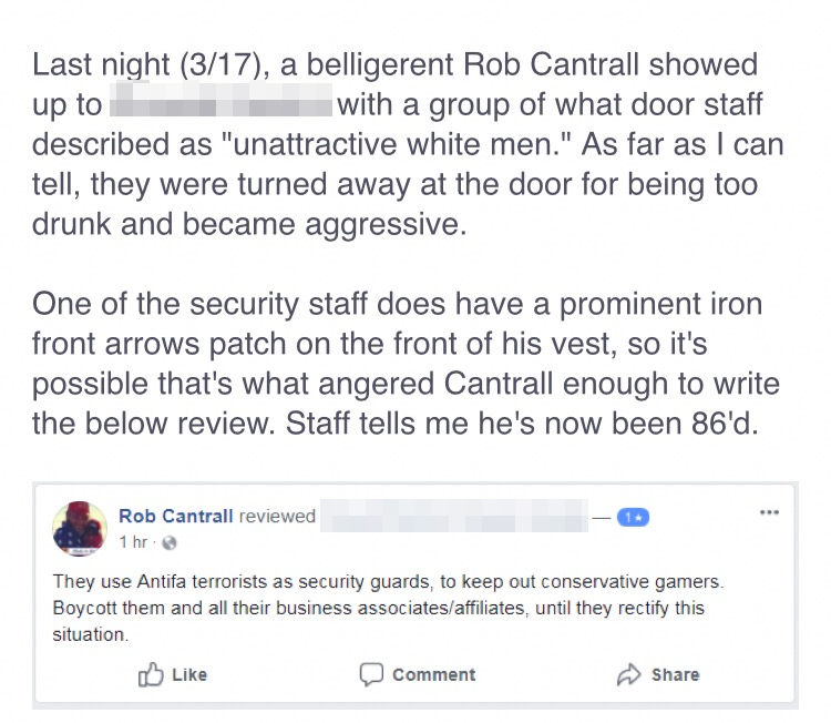 Rob Cantrall allegedly harasses people working at a bar