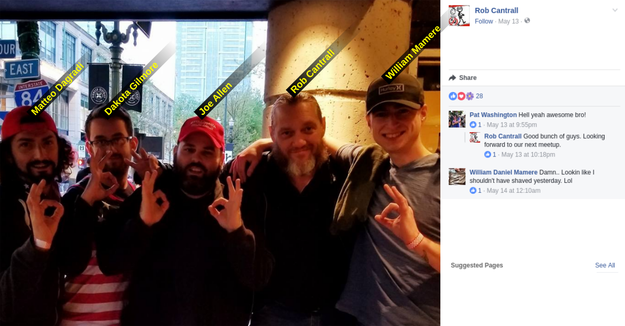 Gilmore in a group photo with fellow Proud Boys