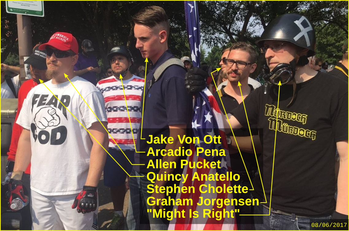 Graham Jorgensen with fascists at a Patriot Prayer rally