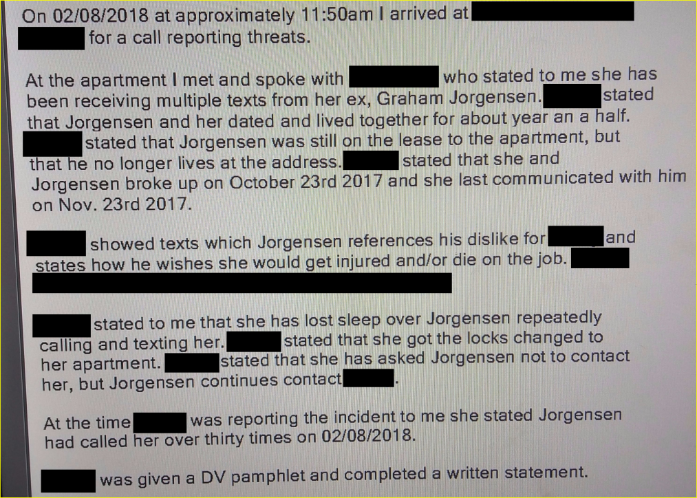 Graham Jorgensen has a history of domestic violence and cyber stalking