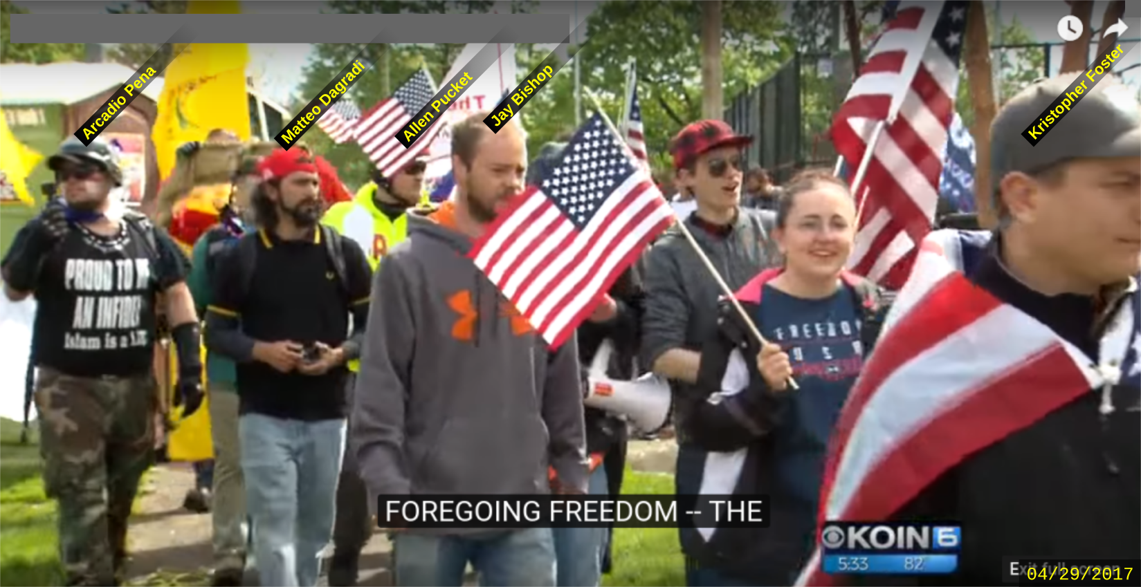 Matteo Dagradi attends a Patriot Prayer rally with fascists