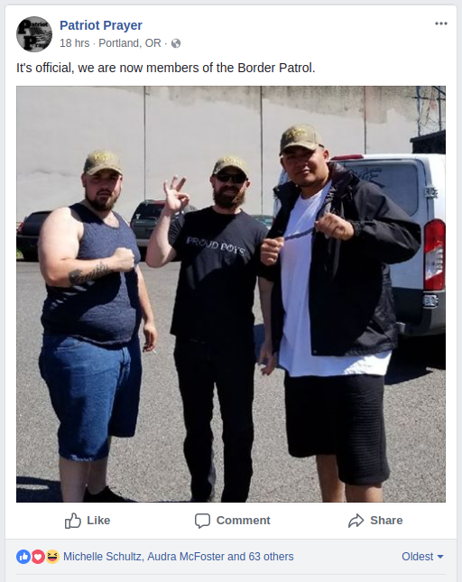 Donovon Flippo and fellow Proud Boys play border agent