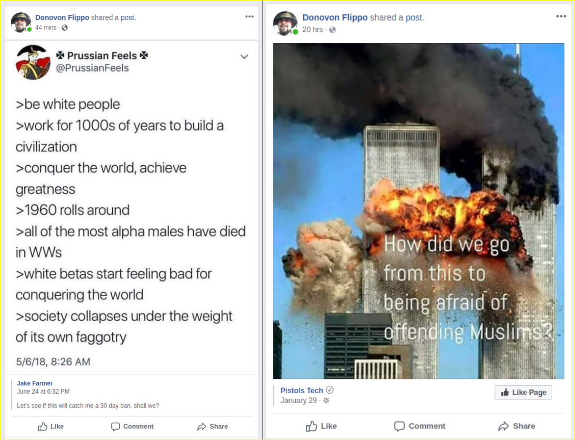 Donovon Flippo posts racist and neo-Nazi propaganda on his facebook page
