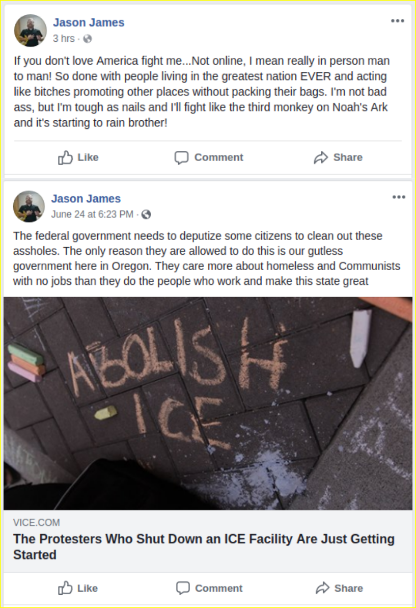 Jason James expresses fascist sentiments on facebook