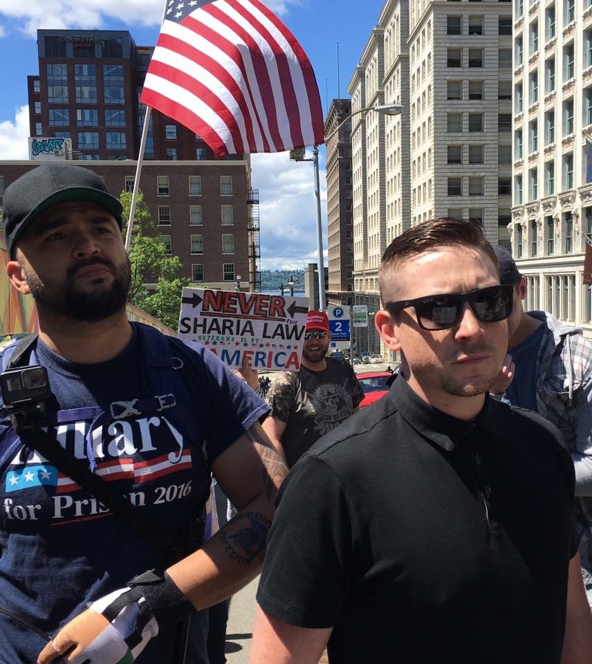 Nick Boling attends an Islamophobic rally with Patriot Prayer