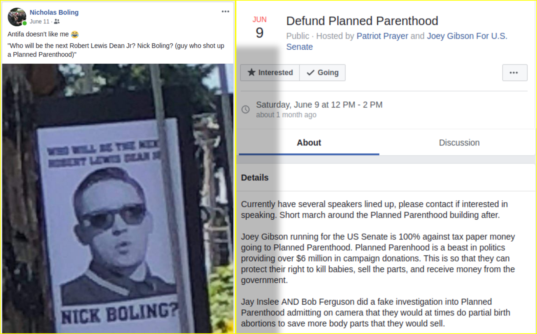 Nick Boling attends an anti-abortion rally using rhetoric that has inspired shootings