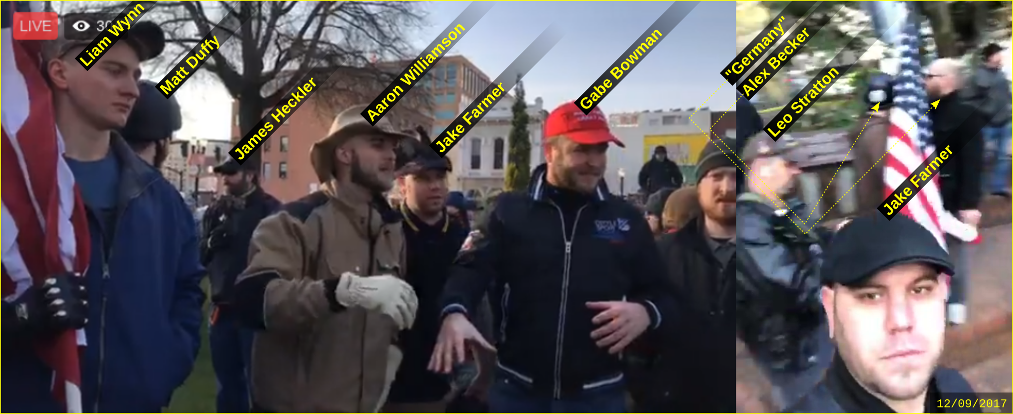 Jake Farmer at an anti-immigrant hate rally