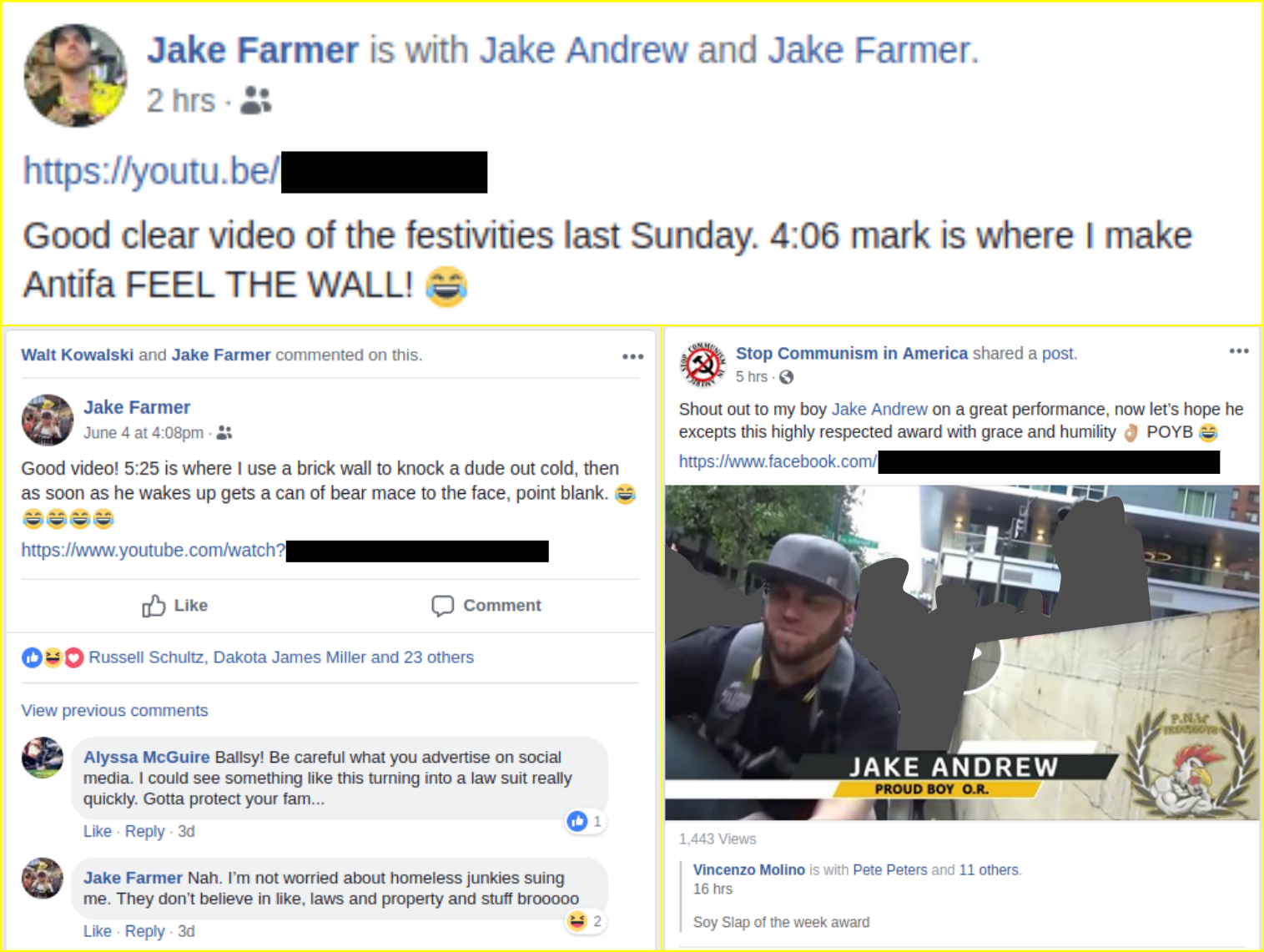 Jake Farmer boasts online about assaulting activists