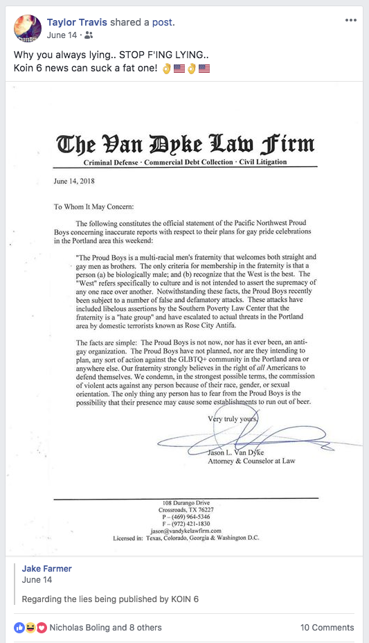 Taylor share Jason Van Dyke's open letter