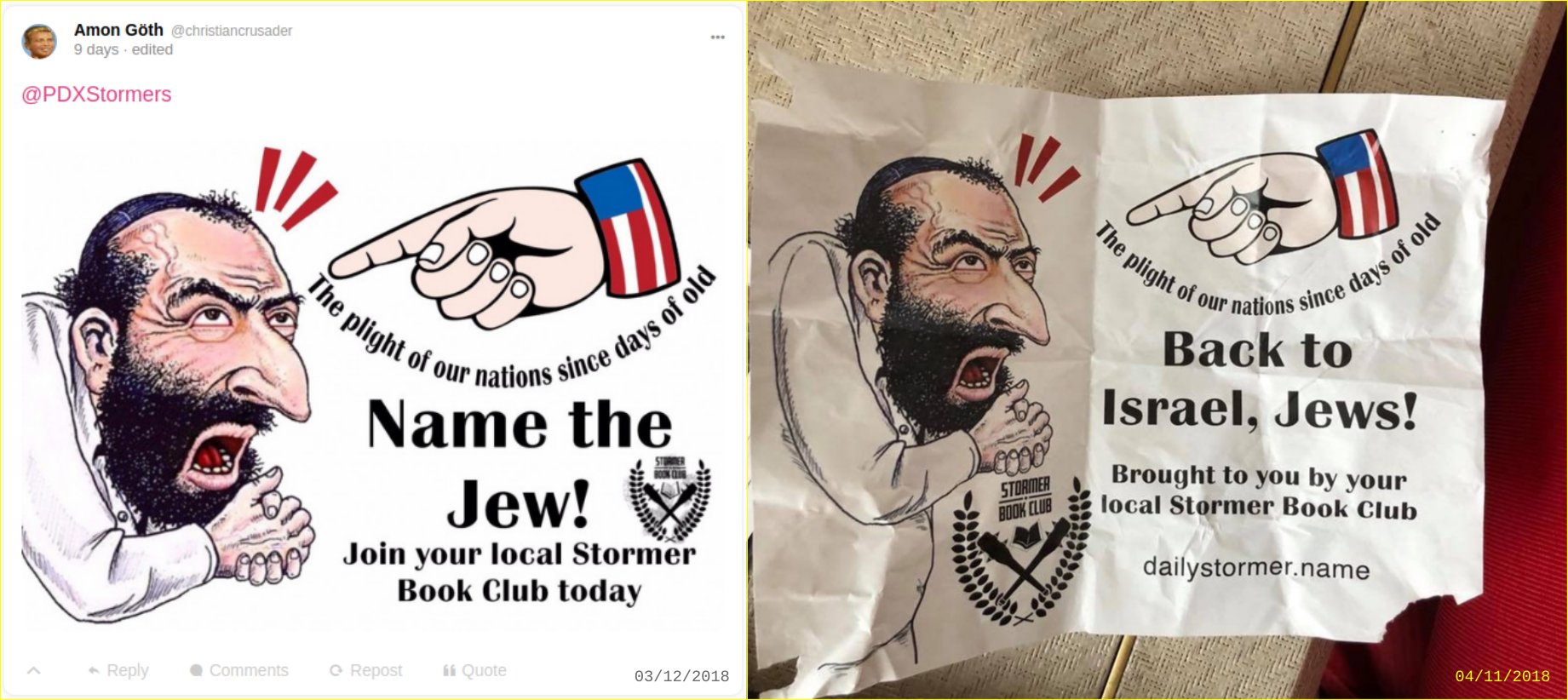 Anti-Semitic flyers posted by PDX Stormers at Chabad center PDX