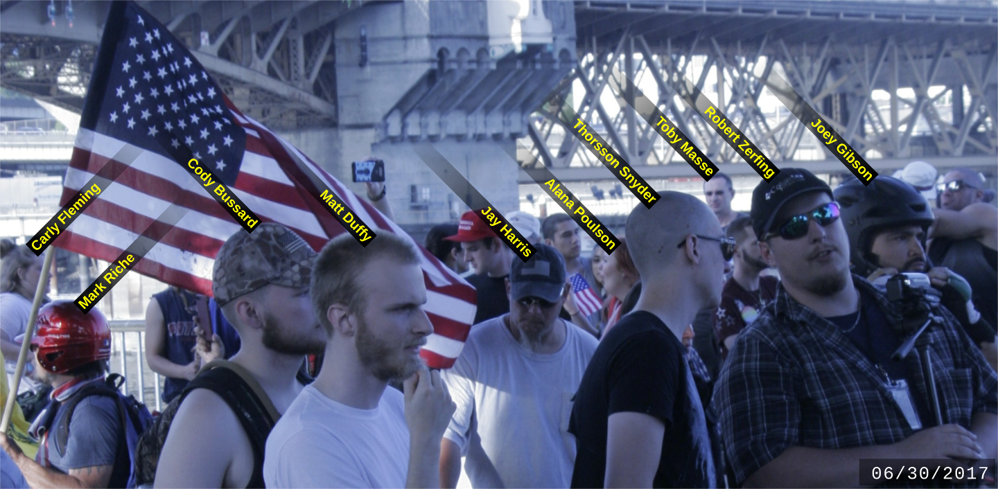 Matt Duffy with other fascists at the June 6 Patriot Prayer rally