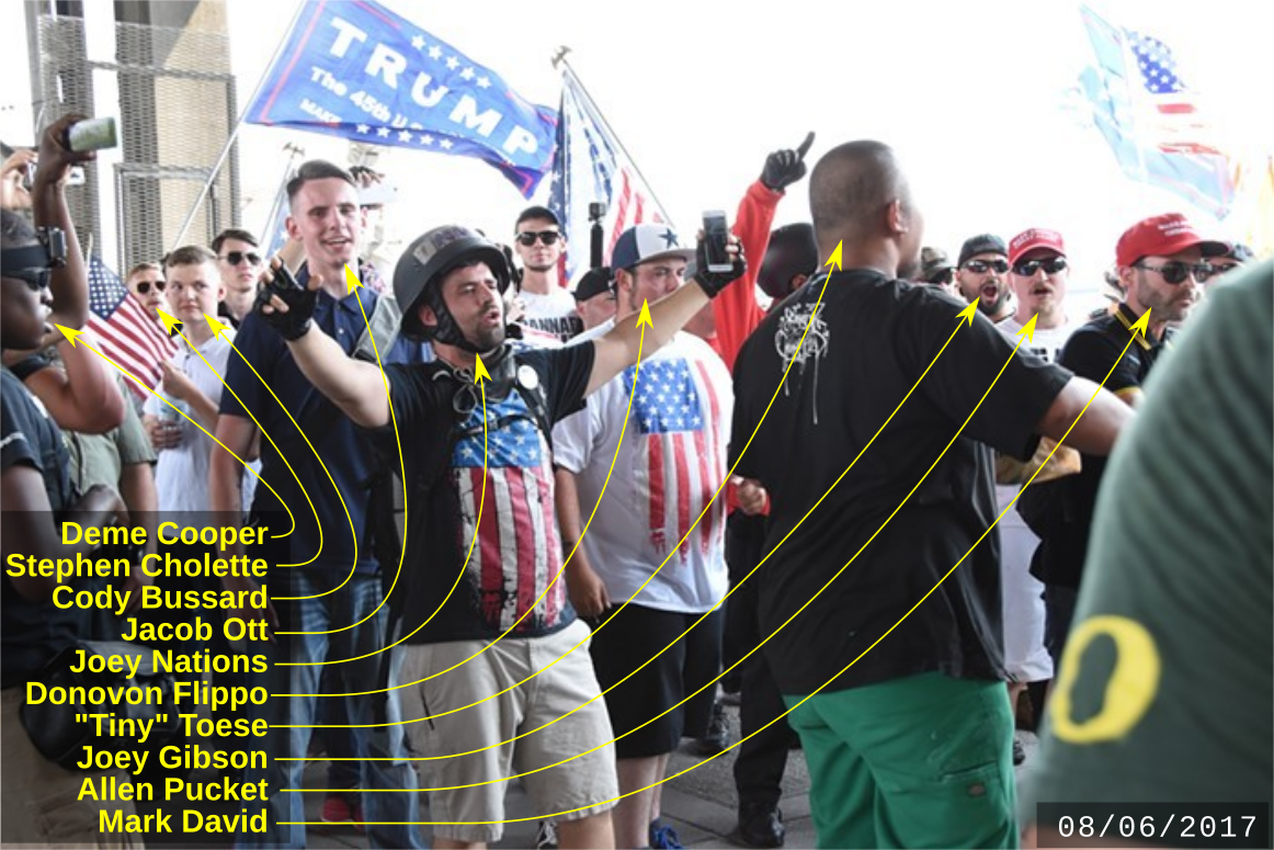 Cody Bussard and other fascists at an August 6 Patriot Prayer march