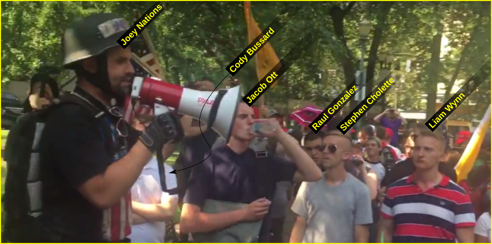 Liam Wynn at an August 6 Patriot Prayer rally