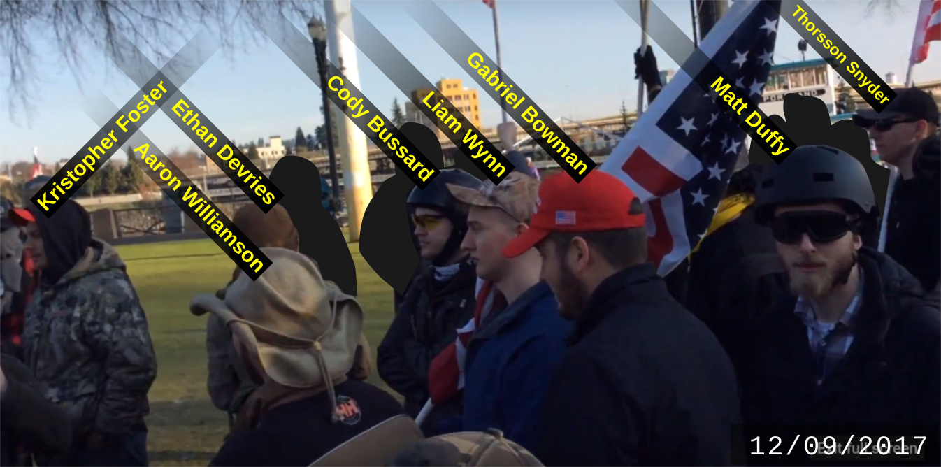 Matt Duffy with other fascists at the December 9 Patriot Prayer rally