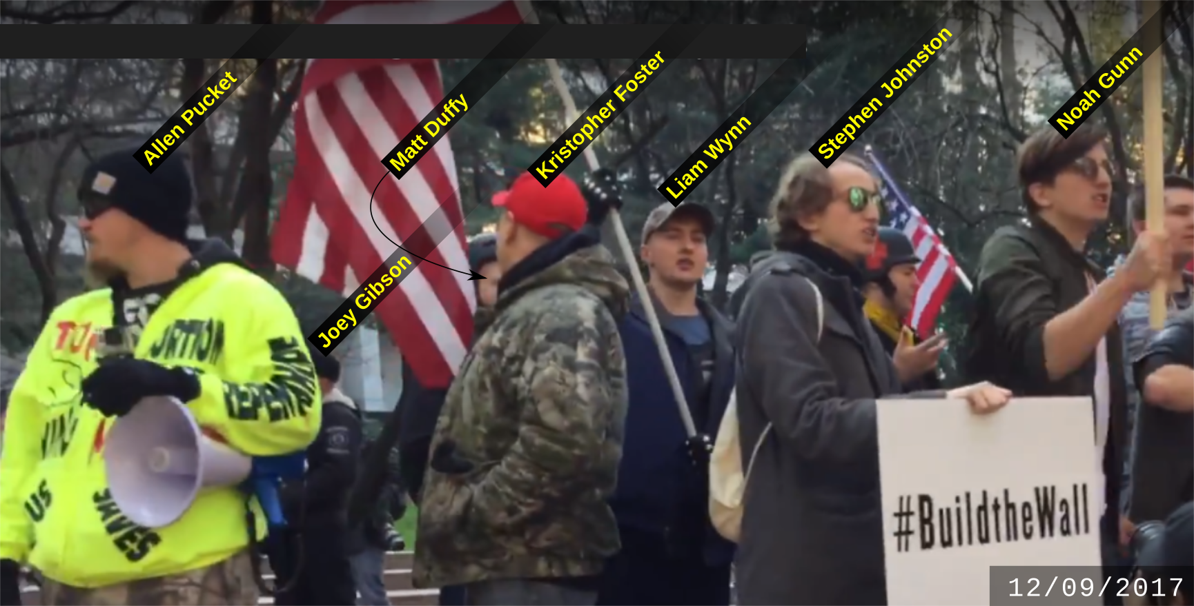 Stephen Johnston at a Patriot Prayer anti-immigrant rally