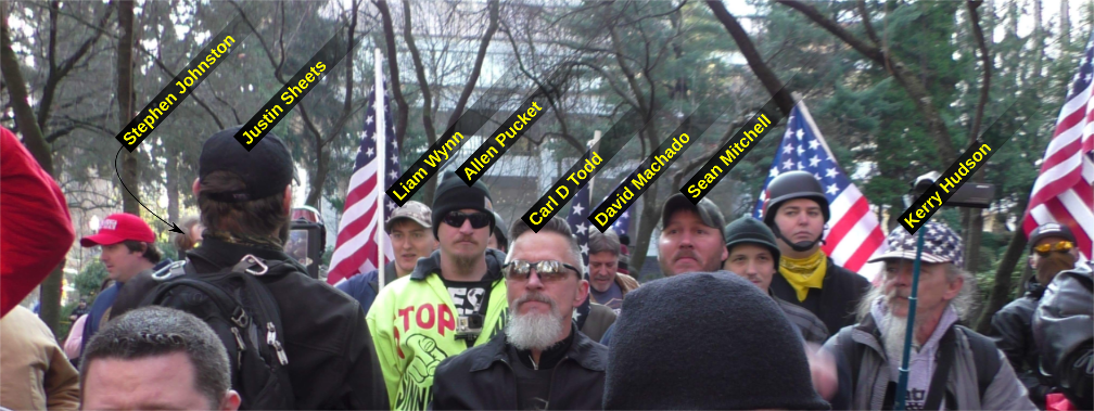 Liam Wynn at a Patriot Prayer anti-immigrant hate rally