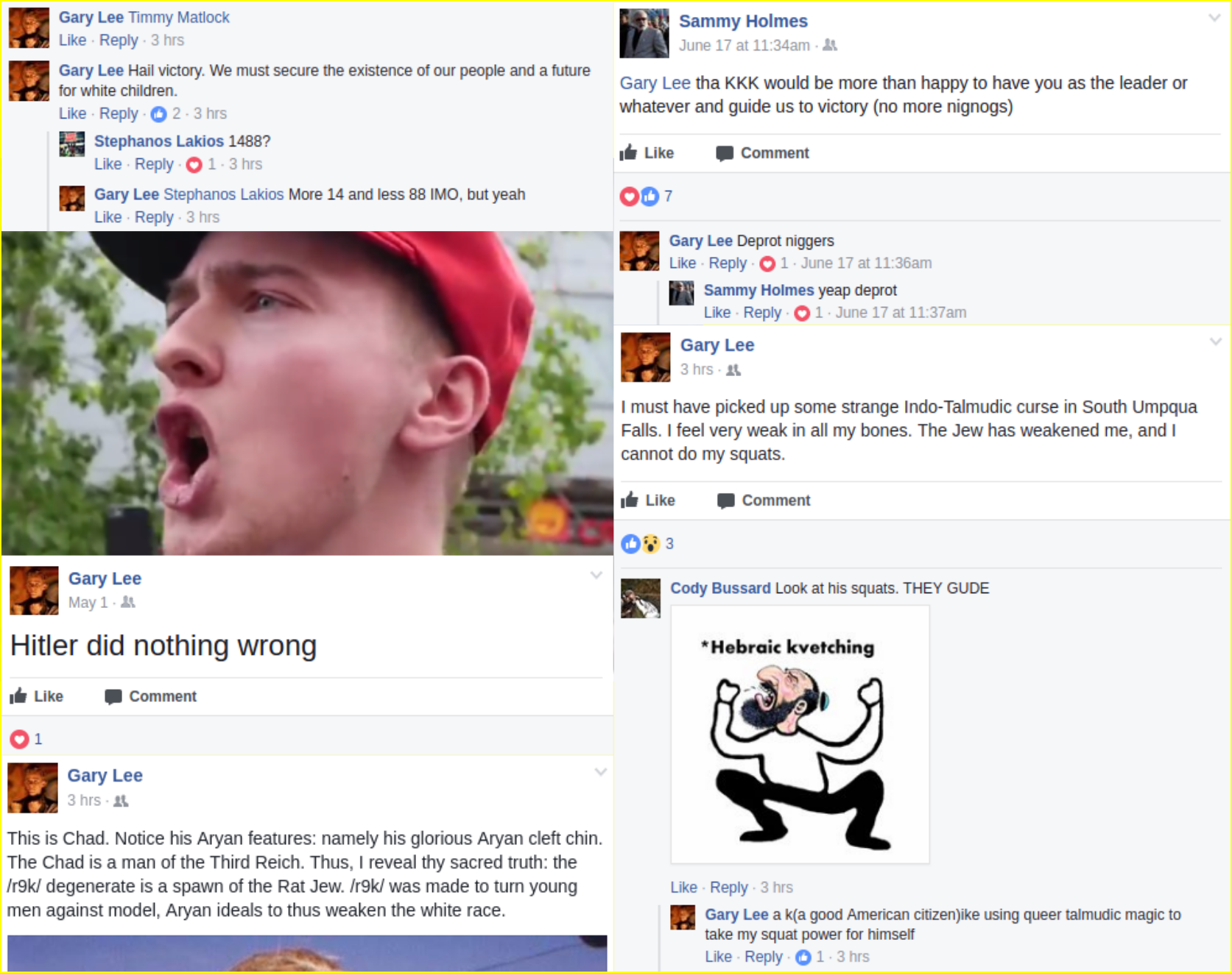 Liam Wynn fascist facebook posts