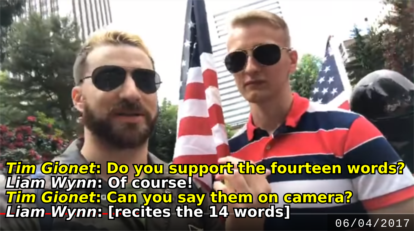 Liam Wynn recites a neo-Nazi slogan at a June 4 Patriot Prayer rally