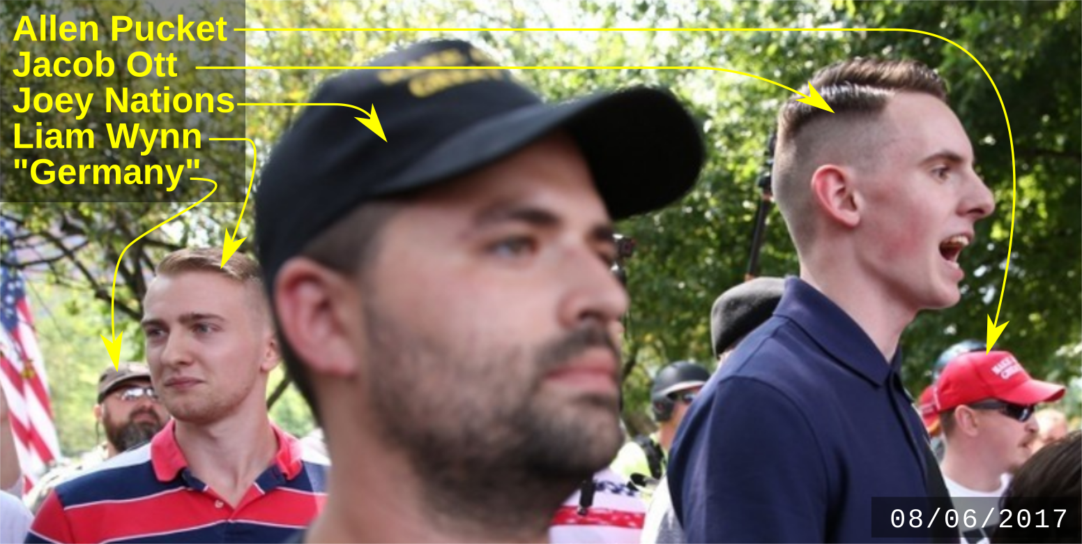 Liam Wynn with other fascists on on August 6 2017