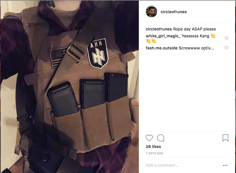 Schomaker poses with guns and caption Day of the rope ASAP please