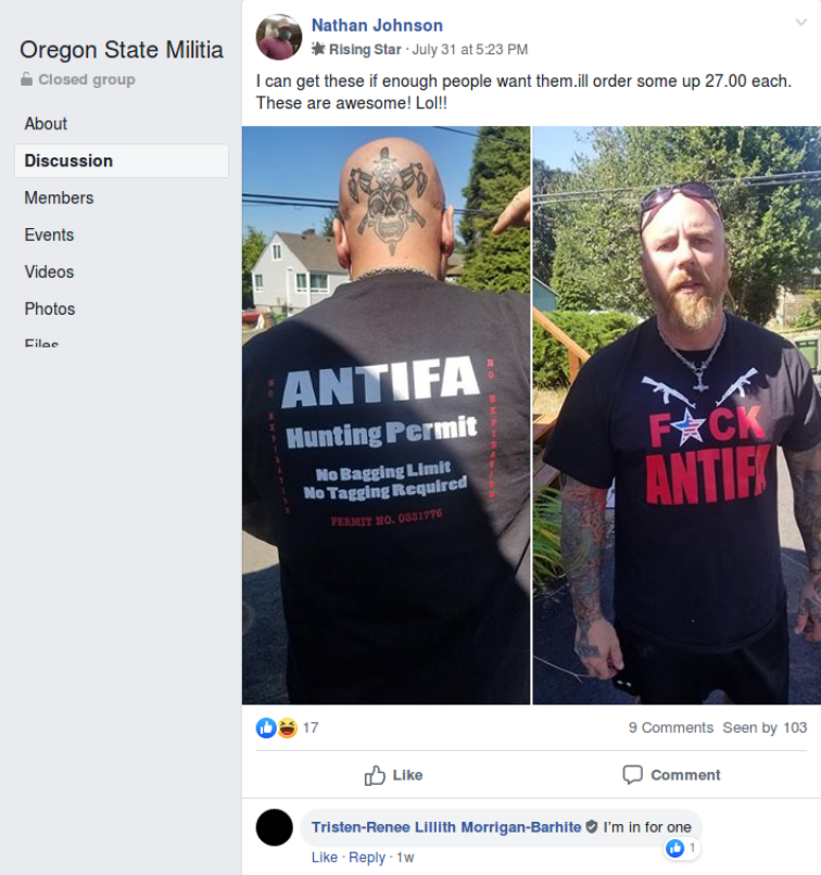 Tristen Barhite wants an anti-antifa shirt